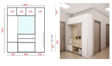визуализация и дизайн холла + чертеж мебели
