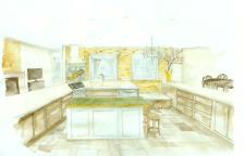 Эскиз интерьера кухни в акварели