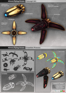 Flying Drone. Concept Art.