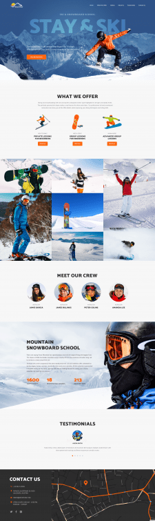 Лендинг для школы катания на сноуборде