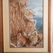 Семейство львов. Сухая пастель. А3.