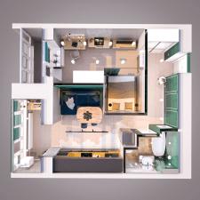 Дизайн-проект 1к квартиры. Планировка в 3д