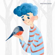 Мальчик и снегирь