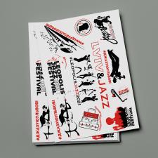 Стикеры в стиле минимализма для джаз фестиваля