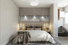 Интерьер спальни в трехкомнатной квартире