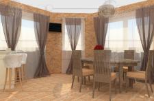 Визуализация кухни-столовой (столовая)