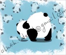 Открытка. Панда делает йогу