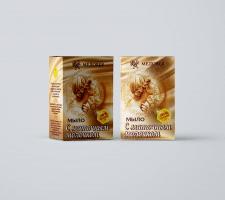Упаковка мыло с Маточным молочком компания Медовея