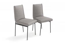 Lot de 2 chaises rembourrees en tissu grey