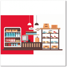 Иллюстрация супермаркета для стенда