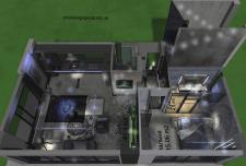 Современный интерьер в современном доме с видом на