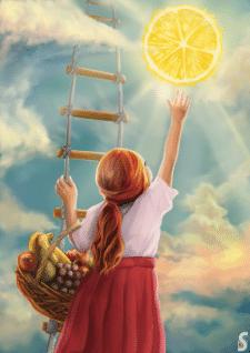Дівчинка та фрукти. Книжкова ілюстрація.