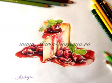 Чизкейк с ягодным соусом и вишнями