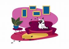 Векторная иллюстрация Пёс-грязнуля