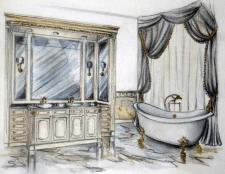Эскиз интерьера ванной комнаты