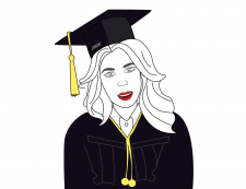 Vector illustration of a girl in graduation cap
