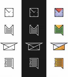 Иконки почты, сообщения, мессенджера