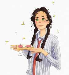 Девочка с бутербродом в мультяшном стиле