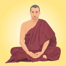 Векторная иллюстрация портрет монаха в мантии