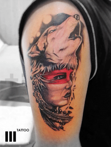 #волк #девушка #тату