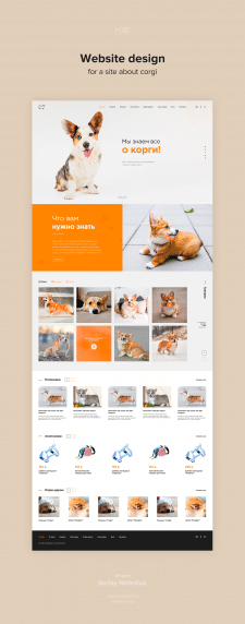 Website design for a site about corgi