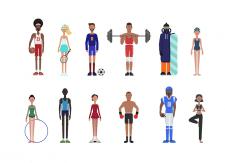 Набор векторных иллюстраций на спортивную тематику