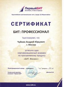 """Сертификат """"Профессионал по Бит.Финанс"""""""