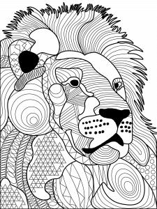 Раскраска антистресс лев