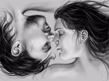 Портретный рисунок влюбленной пары