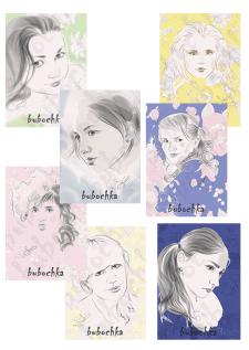 Портреты - открытки/ векторная графика
