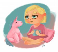 Girl with unicorn