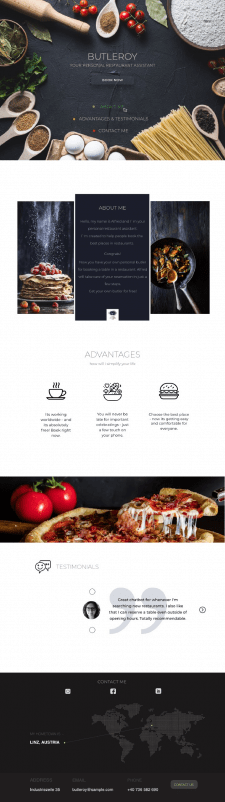 Landing page for personal restaurant Assistant