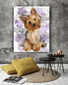 Портрет собаки, акварель, цифровая живопись