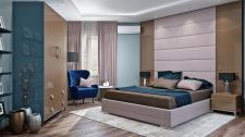 Современная спальня с мягкой панелью (18,5 м.кв.)