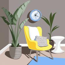 Інтер'єр з кімнатними рослинами
