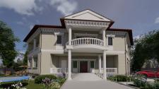 Визуализация частного дома на участке, фасад.