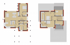 2D план двух этажного дома
