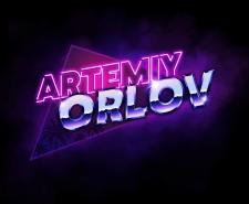 Логотип для музыканта в стиле 80х (Synthwave)