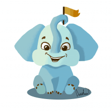 happy elephant character