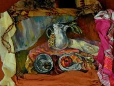 Натюрморт с круассаном и яблоком