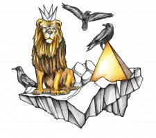 Композиция льва, пирамиды и ворон