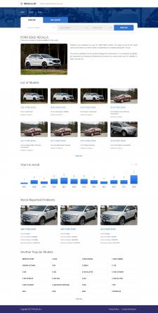 Верстка для сайта на тему отозванных машин