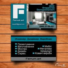 Двухсторонняя голубая визитка по мебели