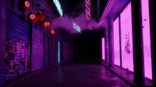 Ночной двор в Токио