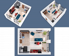 3D visualization of a one-room apartment NEW-2