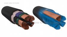 Модель конструкции многожильного кабеля.