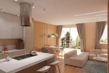 Солнечный интерьер гостиной в частном доме