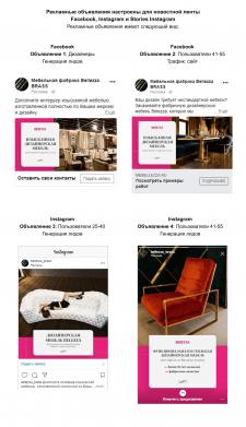Таргетинг для производителя мебели в FB, Instagram