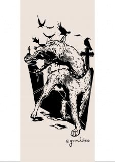 Дизайн эскиза татуировки ( Кладбищенская гончая)