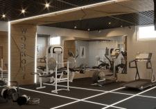 Дизайн интерьера тренажерного зала при гостинице